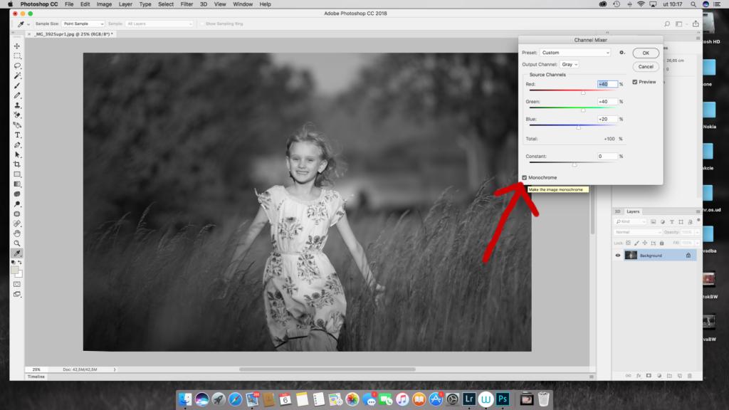 prevody fotografií dočiernobielej vo Photoshope